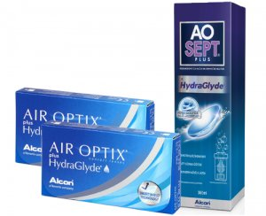 2 x Air Optix Plus HydraGlyde 3 szt. + AOSEPT PLUS z HydraGlyde 50% TANIEJ