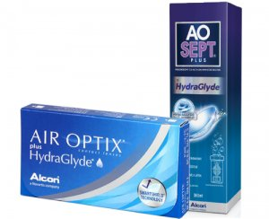 Air Optix Plus HydraGlyde 6 szt. + AOSEPT PLUS HydraGlyde 50% TANIEJ