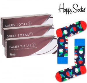 3 x DAILIES Total1 - 30 szt. + skarpetki Happy Socks - GRATIS