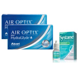 2 x Air Optix Plus HydraGlyde 6 szt. + krople Systane Hydration GRATIS