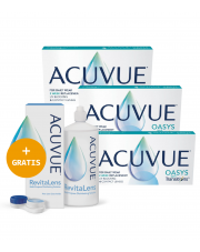 3 x ACUVUE® OASYS with Transitions™ - 3 x 6 szt. + GRATIS płyn  ACUVUE™ RevitaLens 360 ml